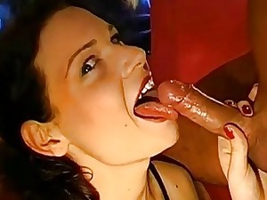 Insane girls are getting shower of super-fucking-hot cock juice
