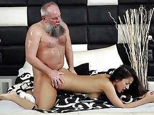 Youthfull Busty Teen Takes Facial From Grandpa