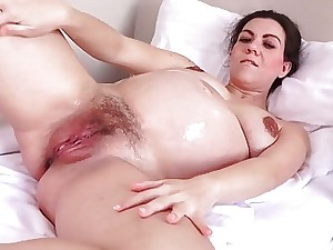 Preggie Corazon Oiled Up and Masturbating!