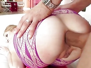 Stockinged blonde Arya Faye is facialized after the rough anal