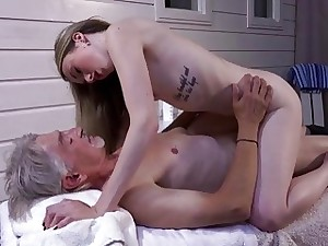 Skinny Teen Massage has sex with grandpa and fellate