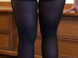 Wife in ebony tights