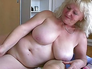 OldNanny Mature with ample boobs jack