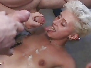 Untrained mart girlfriend gangbang with bukkake
