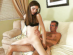 Youthful unexperienced girlfriend sucks and fucks an old gu