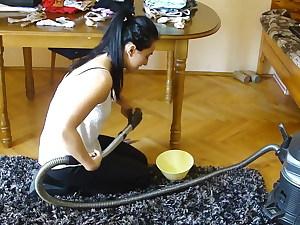 Vacuuming clothes