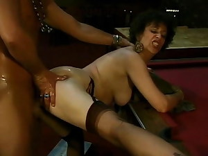 Woman in fine nylons fingered and fucked on the pool table