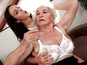 Careful black haired loves shove around granny